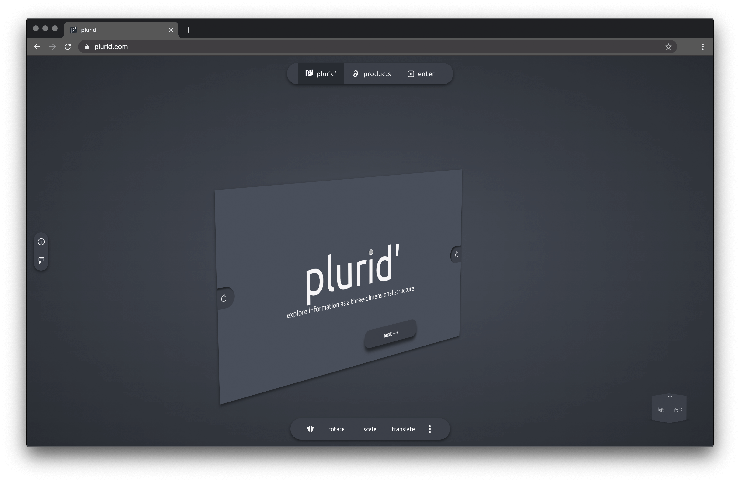 plurid explore information as a 3D structure